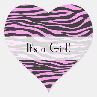 Es un chica - estampado de animales, cebra - negro pegatina en forma de corazón
