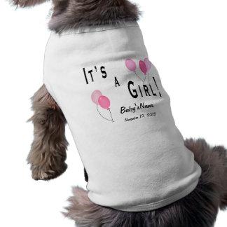 Es un chica - globos rosados camisetas mascota