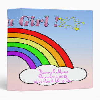 """Es un chica - libro del bebé del recuerdo del arco carpeta 1 1/2"""""""