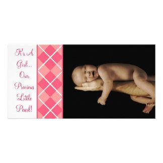 Es un chica… Nuestra pequeña perla preciosa Tarjeta Con Foto Personalizada