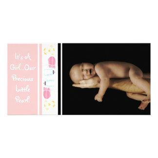 Es un chica… Nuestra pequeña perla preciosa Tarjetas Fotográficas