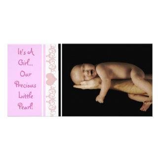Es un chica… Nuestra pequeña perla preciosa Tarjetas Fotográficas Personalizadas