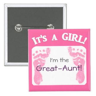 ¡Es un chica! Nuevo botón del bebé para los parien Pin Cuadrado