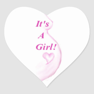 ¡Es un chica! Pegatina En Forma De Corazón