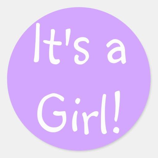 ¡Es un chica! Pegatina Redonda