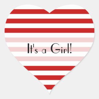 Es un chica - rayas (líneas paralelas) - blanco pegatina en forma de corazón