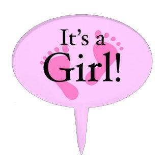Es un chica - recién nacido, bebé, fiesta de decoración de tarta
