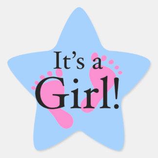 Es un chica - recién nacido, bebé, fiesta de pegatina en forma de estrella