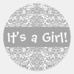 ¡Es un chica! Sello del pegatina del sobre del