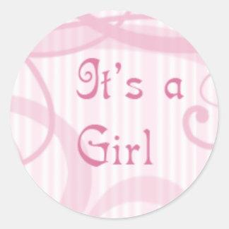 Es un chica - swirly etiqueta redonda