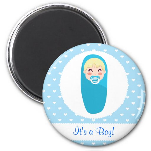 Es un diseño del bebé del muchacho imán de nevera
