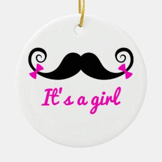 es un diseño del chica, bigote rizado con los adorno navideño redondo de cerámica