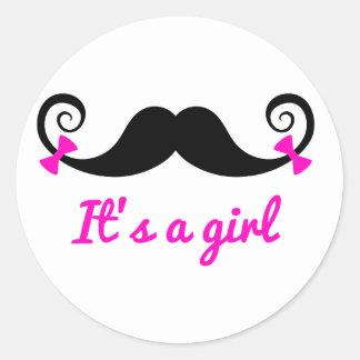 es un diseño del chica, bigote rizado con los pegatina redonda