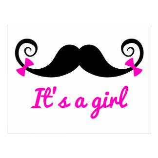 es un diseño del chica, bigote rizado con los tarjetas postales