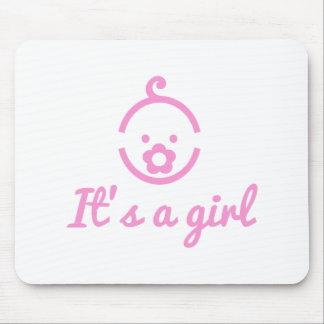 es un diseño del chica con el icono lindo de la ca alfombrilla de ratón