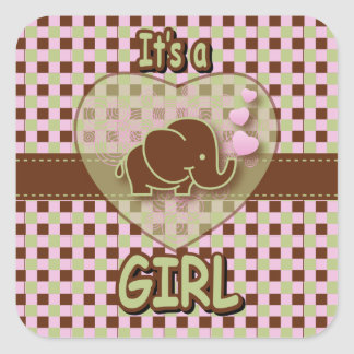Es un elefante del bebé del chica el   pegatina cuadrada