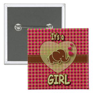 Es un elefante del bebé del chica el | chapa cuadrada 5 cm