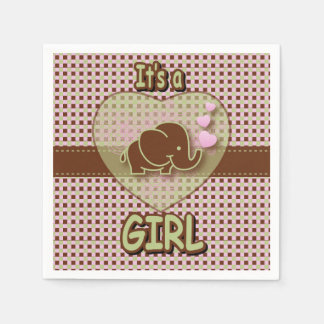 Es un elefante del bebé del chica el | servilleta de papel