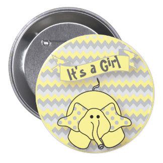 Es un elefante lindo del muchacho o del chica pin redondo de 3 pulgadas