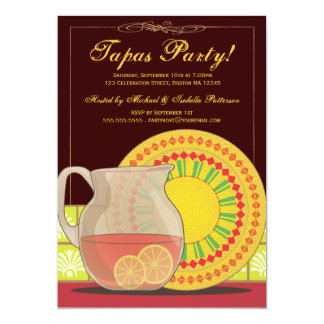 ¡Es un fiesta de los Tapas! Invitación de la hora Invitación 12,7 X 17,8 Cm