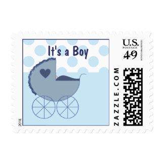 Es un franqueo con errores azul del muchacho sello