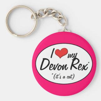 ¡Es un gato! Amo a mi Devon Rex Llavero Redondo Tipo Pin