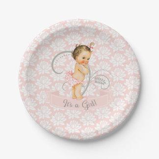 Es un gris blanco del rosa de las perlas del bebé plato de papel de 7 pulgadas