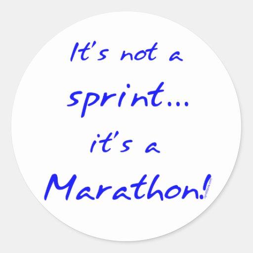 Es un maratón - azul etiquetas redondas