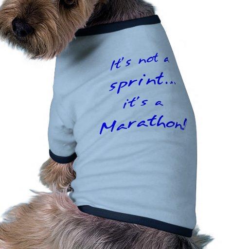 Es un maratón - azul camiseta con mangas para perro