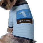 ¡Es un muchacho! Camiseta del perro - azul/Brown Ropa De Mascota