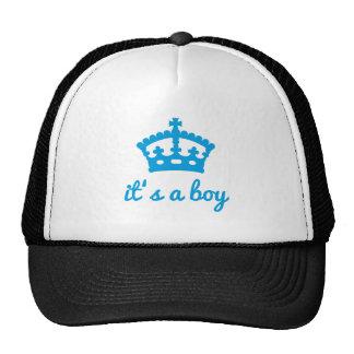 Es un muchacho, diseño del texto con la corona azu gorros bordados