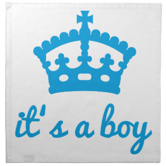 Es un muchacho, diseño del texto con la corona azu servilletas