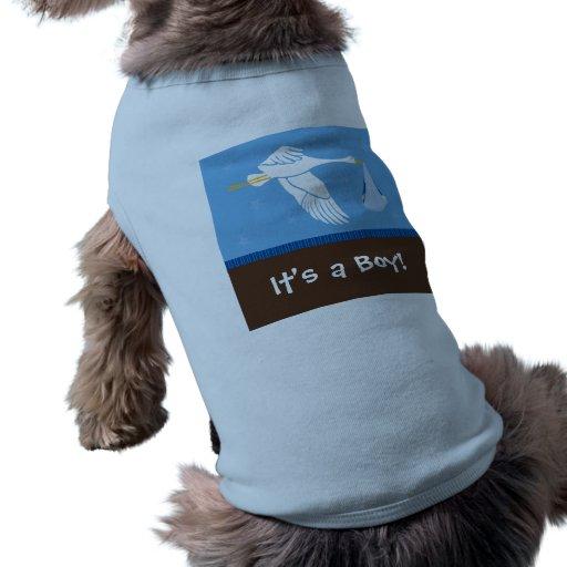 ¡Es un muchacho! El tanque del perro - azul/Brown Camiseta De Mascota
