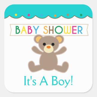 Es un muchacho, fiesta de bienvenida al bebé del pegatina cuadrada