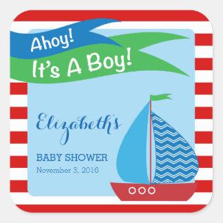 Es un muchacho, fiesta de bienvenida al bebé pegatina cuadrada