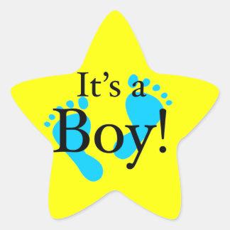 ¡Es un muchacho! - Fiesta de bienvenida al bebé Pegatina En Forma De Estrella