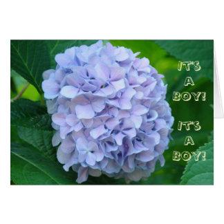 ¡Es un muchacho! Flores del azul de las invitacion Felicitacion
