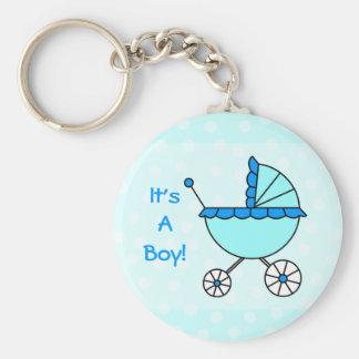 ¡Es un muchacho! Llavero del carro de bebé azul