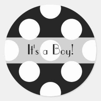 Es un muchacho - lunares, puntos - el negro blanco etiquetas redondas