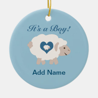 ¡Es un muchacho! Mamá Sheep Adorno Redondo De Cerámica