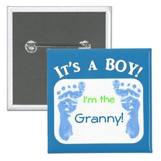 ¡Es un muchacho! Modifique su botón del bebé para  Pin Cuadrado