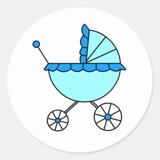 ¡Es un muchacho! Pegatinas del carro de bebé azul Pegatina Redonda
