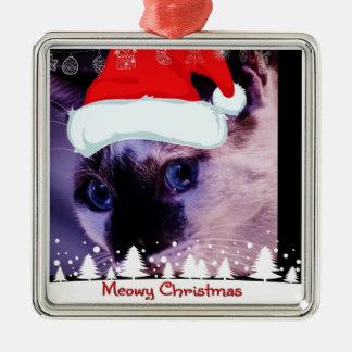 Es un ornamento adorable del árbol del gato del adorno navideño cuadrado de metal