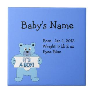 Es un oso azul del muchacho azulejo cuadrado pequeño