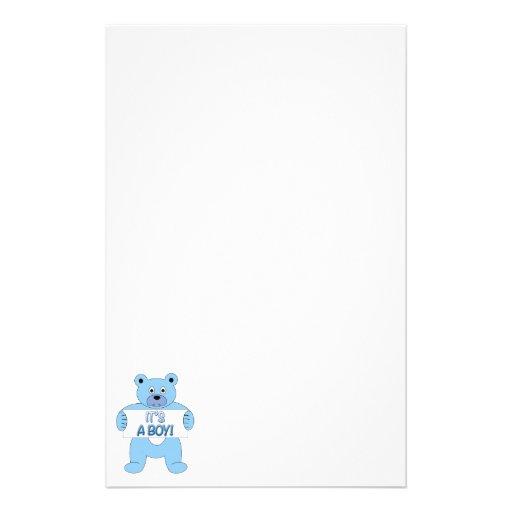 Es un oso azul del muchacho papeleria de diseño