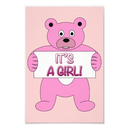 Es un oso del rosa del chica fotografía