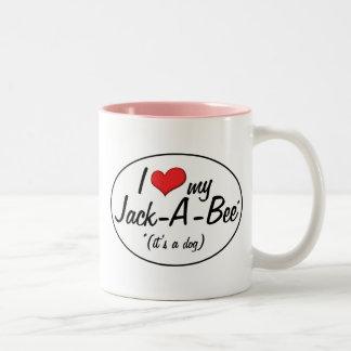 ¡Es un perro! Amo mi Jack-UNO-Abeja Taza De Dos Tonos