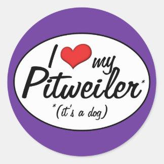 ¡Es un perro! Amo mi Pitweiler Pegatina Redonda