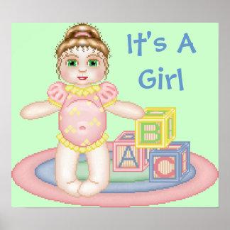 Es un poster del bebé del chica
