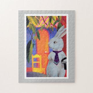 Es un Puzzler.  El conejo blanco en café turco Rompecabezas Con Fotos